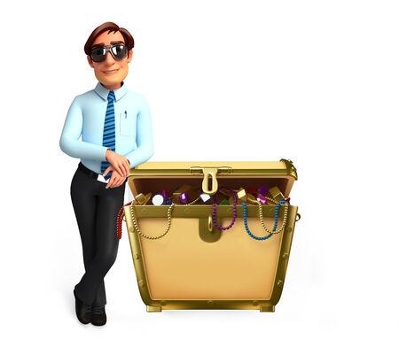 service man: Illustration of service man with treasure box