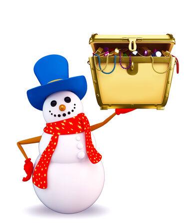 Illustration of snowman character with treasure box illustration