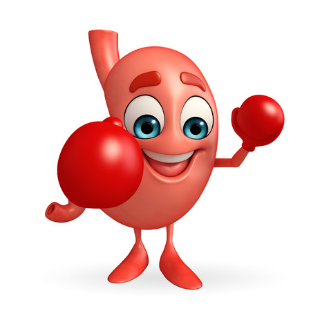 alimentary: Cartoon Character of stomach with boxing gloves