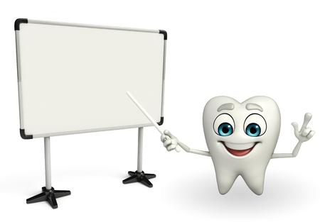 Cartoon character of teeth with Display board