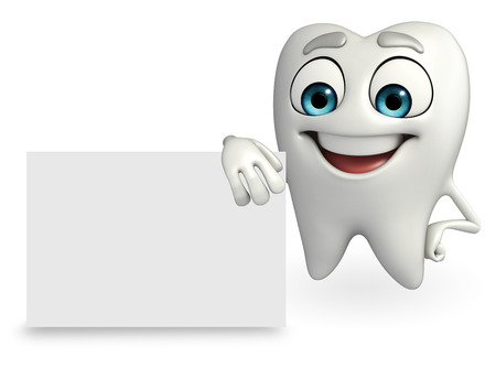 Cartoon character of teeth with sign