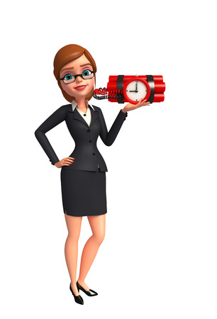 human time bomb: Illustration of Young Business Woman with bomb