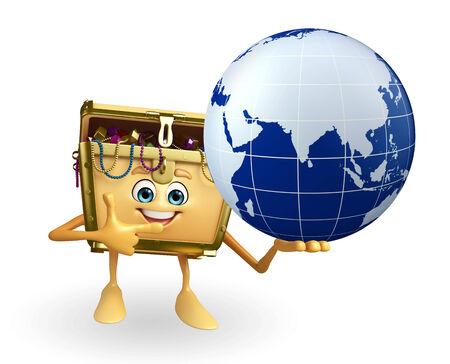 treasury: Cartoon Character of Treasure box with globe