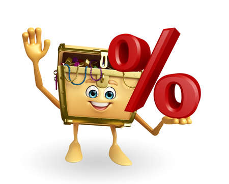 thesaurus: Cartoon Character of Treasure box with Percentage sign Stock Photo