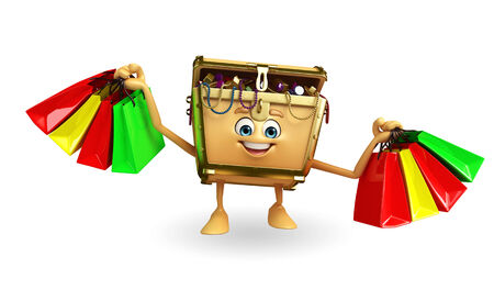 Cartoon Character of Treasure box with shopping bag photo