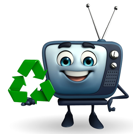 Cartoon Character of TV with recycle icon photo