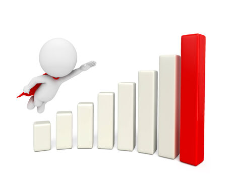 heros: Illustration of super white character with business graph Stock Photo