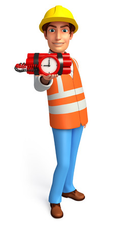 human time bomb: Illustration of young worker with time bomb