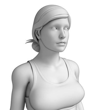 Illustration of female upper body artwork illustration