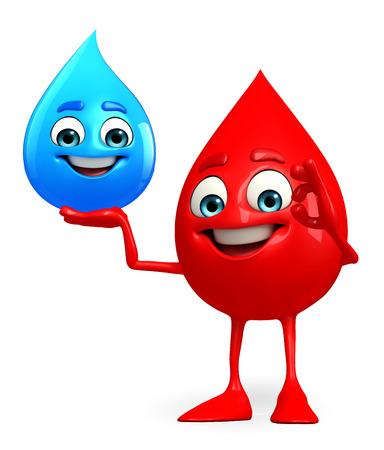 Cartoon Character of Blood Drop with water drop Banco de Imagens
