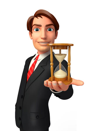welcoming: Illustration of Young Business Man with sand clock