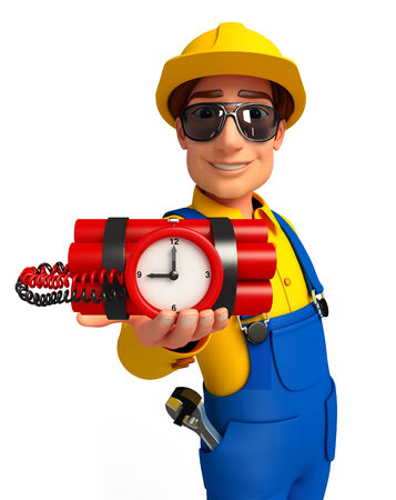 time bomb: Illustration of young mechanic with time bomb