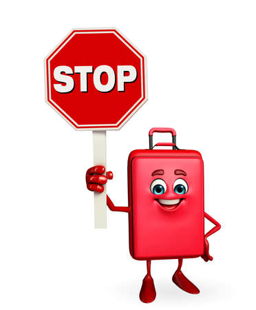 Cartoon Character of Travelling Bag with stop sign photo