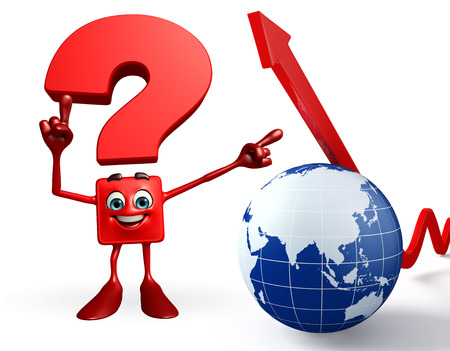 Cartoon Character of Question Mark with globe and Arrow photo
