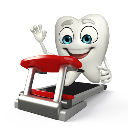 Cartoon character of teeth with walking machine Banco de Imagens
