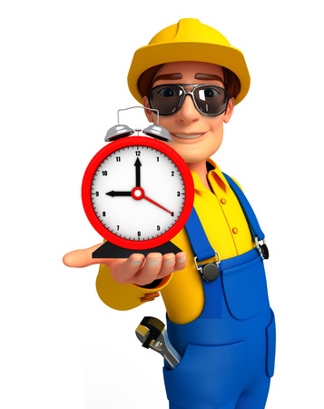 Illustration of young mechanic with table clock illustration