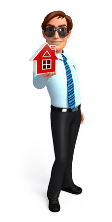 welcoming: Illustration of service man with home Stock Photo