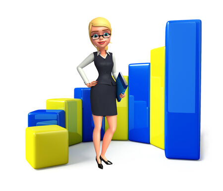 achivement: Illustration of young office girl with business graph