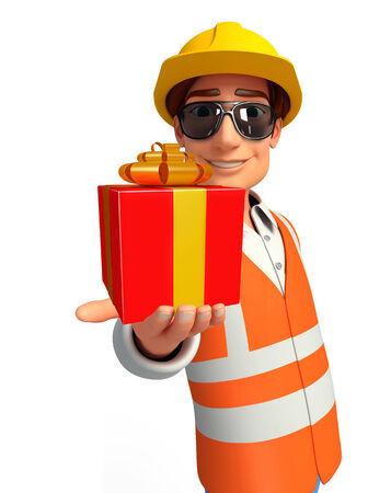 llave de sol: Ilustración del trabajador joven con caja de regalo