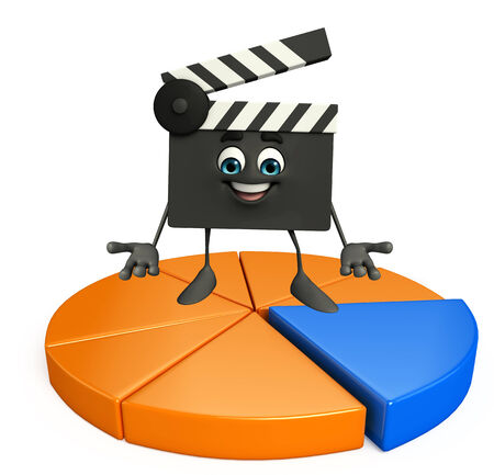 Cartoon Character of Clapper Board with circular business graph photo