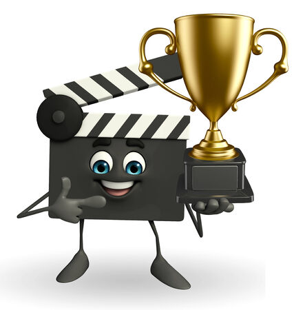 Cartoon Character of Clapper Board with trophy