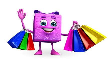Cartoon Character of gift box with shopping bag photo