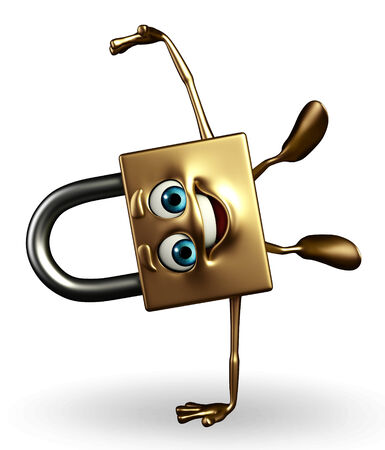 Cartoon Character of lock with happy pose photo