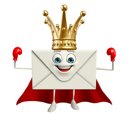 royal mail: Cartoon Character of Super mail with crown
