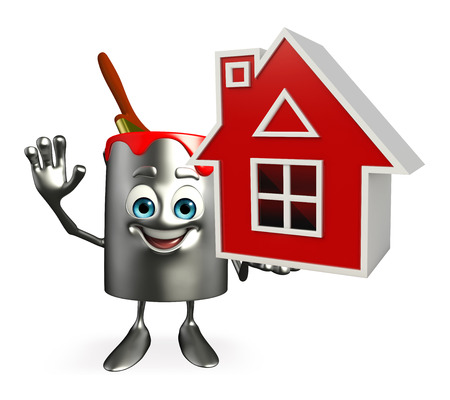 Cartoon Character of paint bucket with home photo