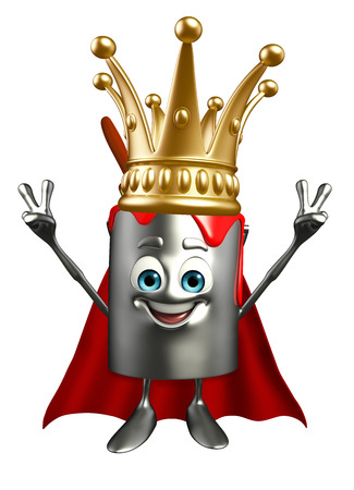 Cartoon Character of paint bucket with crown photo