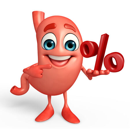 alimentary: Cartoon Character of stomach with percent sign
