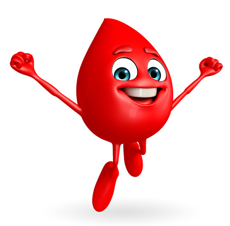 Cartoon Character of Blood Drop with flying pose
