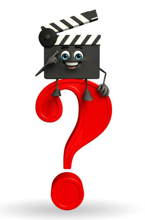 Cartoon Character of Clapper Board with question mark photo