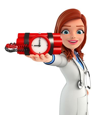 human time bomb: Illustration of Young Doctor with time bomb