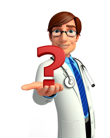Illustration of young doctor with question mark illustration