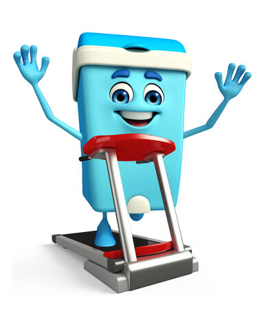 excercise: Cartoon Character of Dustbin with walking machine