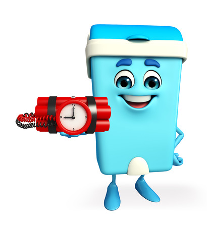 cartoon bomb: Cartoon Character of Dustbin with time bomb