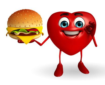 Cartoon Character of heart shape with burger photo