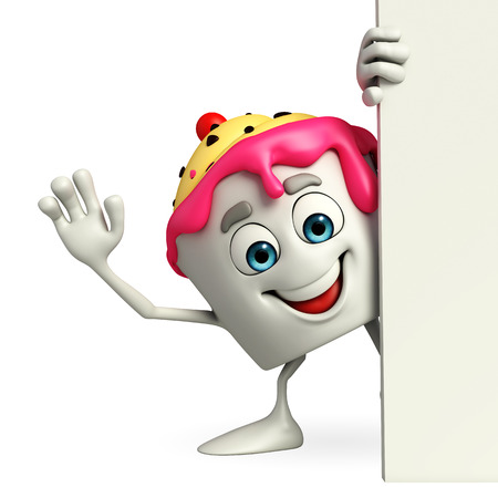 Cartoon Character of Ice Cream with sign photo