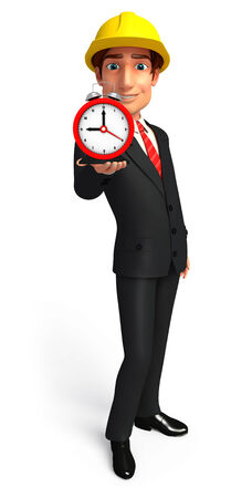 welcoming: Illustration of Young Business Man with table clock