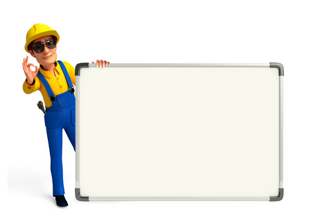 writting: Illustration of young mechanic with display board