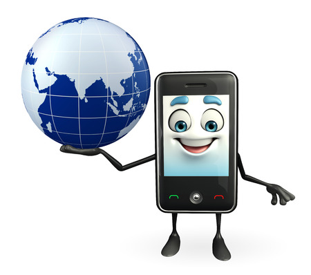 Cartoon Character of Mobile with globe photo