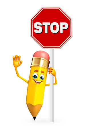 Cartoon Character of pencil with stop sign