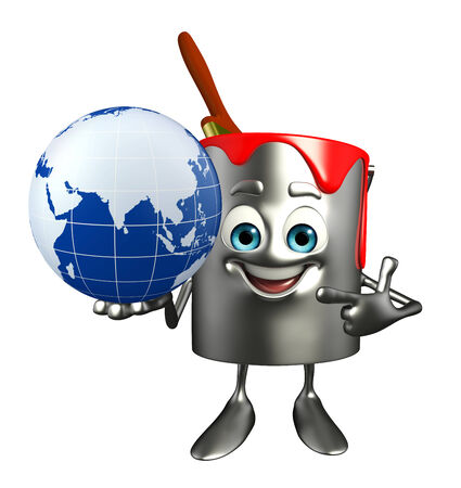 Cartoon Character of paint bucket with globe photo