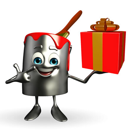 Cartoon Character of paint bucket with gift box photo