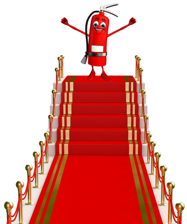 disaster prevention: Cartoon Character of fire extinguisher with red carpet