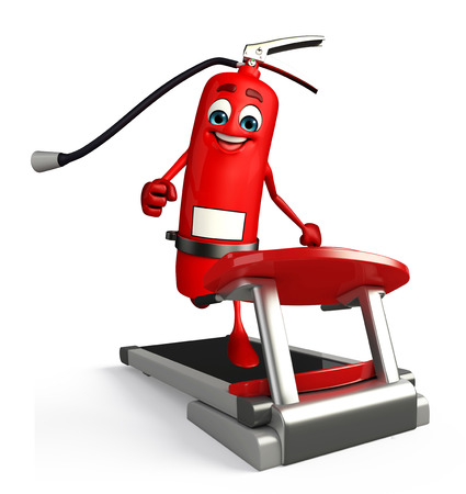 disaster prevention: Cartoon Character of fire extinguisher with walking machine Stock Photo