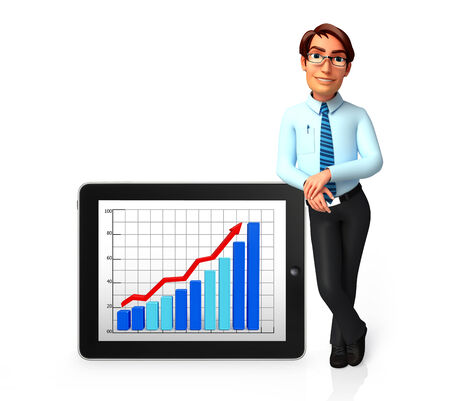 service man: Illustration of service man with business graph Stock Photo