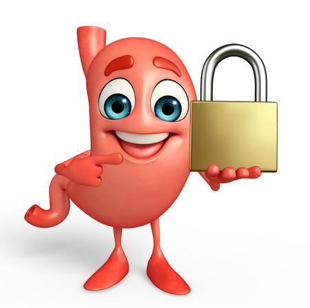 safty: Cartoon Character of stomach with lock