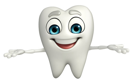 Cartoon character of teeth is presenting Stock Photo